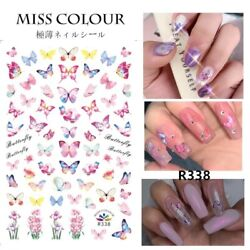 🦋 Butterfly Nail Stickers Waterproof Nail Art Design DIY Decal Pink 🦋 Flower $3.85