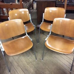 Mid Century Aluminum and Laminated Wood Chairs by JSC Castille Italy Set of 4 $600.00