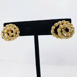 Monet Earrings Gold Color Tone Pierced Twisted Rope Chain Swirl $12.60
