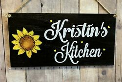SUNFLOWER WOOD SIGN PERSONALIZED FARMHOUSE RUSTIC HOME LOVE SUNFLOWERS DECOR $11.25