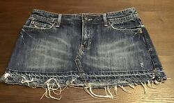 ABERCROMBIE AND FITCH JEAN FRAYED HEM SKIRT LOGOSIZE 6 COLOR BLUE. $18.00