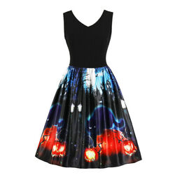 Womens Retro Printed Halloween Party Dress Sleeveless Rockabilly Swing Dresses $20.42