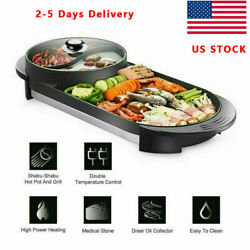 Electric 2 in1 RemovableTeppanyaki Hotpot Barbecue Pan Grill Machine Hot Pot BBQ $74.99