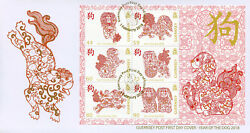 Guernsey 2018 FDC Year of Dog 6v M S Cover Dogs Chinese Lunar New Year Stamps GBP 11.50