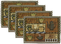 Set of 4 Coffee Themed Placemats 13quot; x 19quot; Cafe Latte Coffee Brown Neutral $18.95