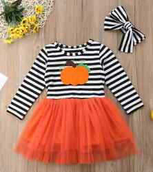 NEW Pumpkin Girls Long Sleeve Striped Tutu Dress 2T 3T 4T 5T 6 $12.99