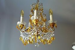 Murano crystal Chandelier Yellow Drops Prisms $850.00