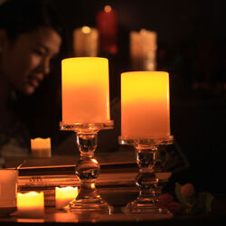 100Pcs Flickering Flameless Resin Pillar LED Candle Light w Timer For Party Lot $4.99