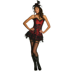 Women#x27;s Gothic Red Saloon Girl Halloween Sexy Costume Corset Skirt Choker Hat