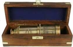 BRASS ANTIQUE VINTAGE 20quot;VICTORIAN MARINE TELESCOPE Wooden Box SPYGLASS NEW GIFT $52.00