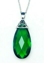 P4591 Classic Mt St Helens Green Helenite May Birthstone Sterling Silver Pendant $36.00