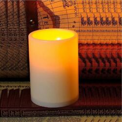 Flameless Flickering Pillar Resin LED Candle Light with timer Wedding Decoration $4.59