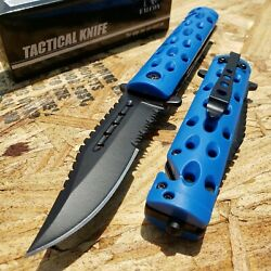 8.5quot; Folding Pocket Knife Spring Assisted Open Serrated Blade Rescue Blue $10.95