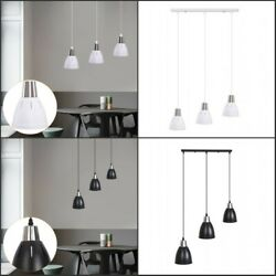 3 Ceiling Lights Pendant Lamp Adjustable Hanging Cord Metal Shade Dining WH BK $30.29