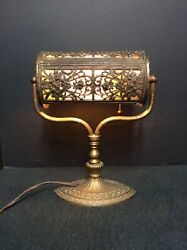 Antique Student Banker Desk Filigree Slag Glass Lamp $795.00