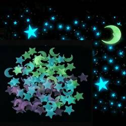 US 100Pcs Glow in The Dark 3D Moon Stars Stickers Decal Ceiling Wall Bedroom DIY $2.56