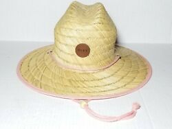 Womans ROXY Straw Sun beach Hat quot;Sunshine On My Mindquot; W Rare Pink Trim $35.00