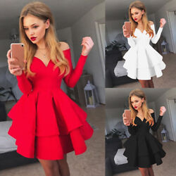 Women Evening Party V Neck Skater Short Ball Dresses Prom Cocktail Mini Dress