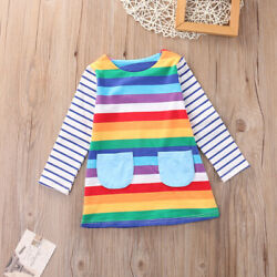 NEW Rainbow Girls Long Sleeve Pocket Dress 2T 3T 4T 5T 6 7 $10.99