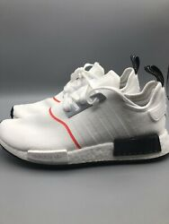 Adidas Mens Size 9.5 NMD R1 CLOUD WHITE CLOUD WHITE SOLAR RED $99.99