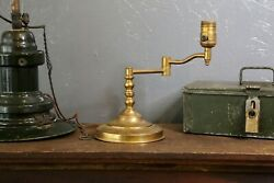 Vintage Brass Bankers Lamp Swing Arm Lawyers Piano Desk industrial Missing Shade $125.00