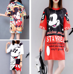 Summer Runway Dress Women Half Sleeve Mickey Mouse Print Loose Outwear T shirt