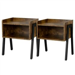 Set of 2 Bedside Tables Nightstands Stackable Narrow End Table with Open Storage $72.99