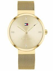 Tommy Hilfiger Gold Plated With Crystal Accents Mesh Women's Watch 1782217 $94.95