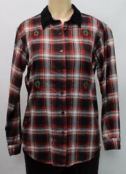 BASIC EDITIONS HOLIDAY Women#x27;s Plaid Christmas Long Sleeve Shirt Size SMALL $4.99