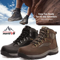 NORTIV 8 Men#x27;s Hiking Boots 24H Outdoor Waterproof Mid Ankle Leather Hiker Boots $49.73