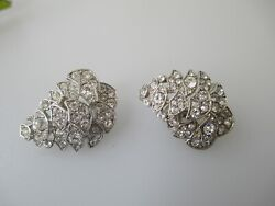 Vintage Givenchy Earrings clear crystal silver tone clips $34.99