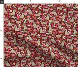 Cairn Terrier Terrier Dog Dogs Florals Floral Spoonflower Fabric by the Yard $11.75