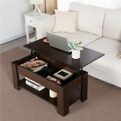 Modern Lift Top Coffee Table w Hidden Storage amp; Shelf For Living Room Reception $89.99