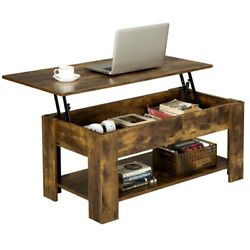 Modern Lift Top Coffee Table w Hidden Storage amp; Shelf For Living Room Reception $115.99