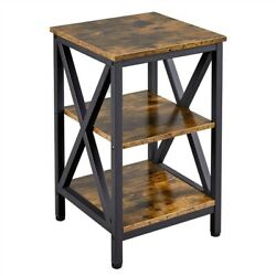 3 Tier Sofa Side Table Rustic End Table X Shape Nightstand Table for Living Room $52.99