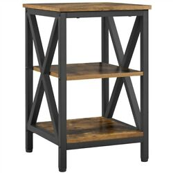 3 Tier Rustic End Table Nightstand Tall Slim Side Couch Table for Bedroom $51.99