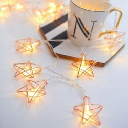 LED Star Fairy String Lights Party Xmas Wedding Home Battery Lamps Rose Gold $10.49
