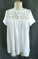 ANTHROPOLOGIE ERI ALI White EMBROIDERED Floral LACE Boho PEASANT Top BLOUSE S $11.95