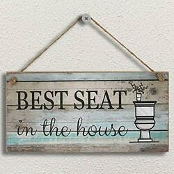 Funny Bathroom Wall Decor Sign Farmhouse Rustic Decorations Wood Plaque Art New $18.11