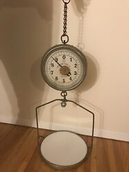 VINTAGE NY SCALE CO DOUBLE SIDED 30 LB ANTIQUE HANGING SCALE GREAT CONDITION $395.00