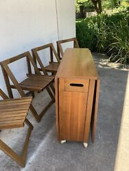 Mid Century Danish Style Romanian Drop Leaf Table With 4 Folding Chairs $595.00