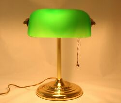 Vintage Bankers Desk Lamp Green Glass Shade Brass Stand Library Piano $49.99