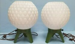 Mid Century PAIR Lamps Beehive Orbs Plastic RARE $225.95