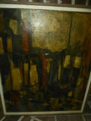 Mid Modern Abstract Collage Painting Beth Fiske $350.00