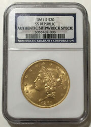 1861 S SS Republic Shipwreck $20.00 Gold Double Eagle. Pop 98 006 $6845.00