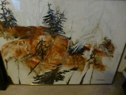 MCM Mid Modern Abstract Landscape Watercolor Signed Wortman $450.00
