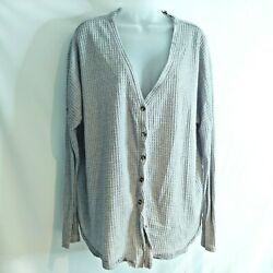 Out From Under Women Cardigan Sweater Medium Urban Outfitters Gray Waffle Knit $19.99