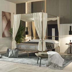 Queen Size 4 Post Metal Canopy Bed Frame Bedroom with Headboard for Adults $169.98