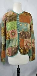 Sandy starkman Womens Quilted Blouse Knit Sheer Boho Size Large $24.64
