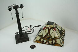Amora Lighting Tiffany Style Table Lamp Banker Mission 23quot; Tall Stained Glass $61.60
